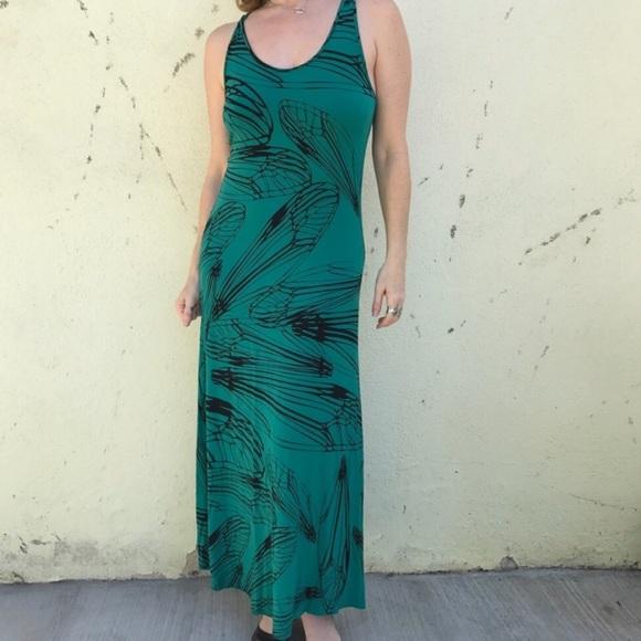 bel kazan Dresses   New Green Maxi Dress Black Floral Ml Stretch ...